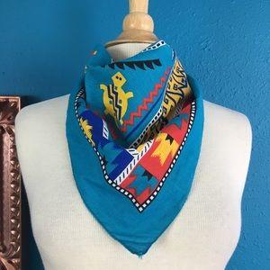 Vtg 80s Southwest turtle print cotton bandana